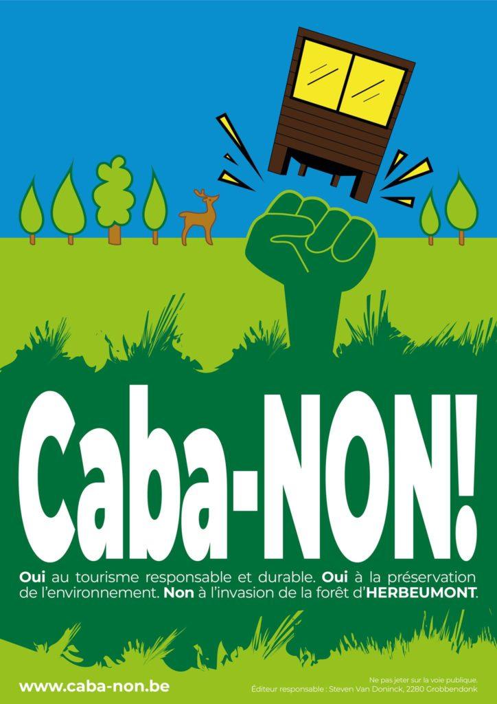 Affiche : OUI au tourisme responsable et durable. Non à l'invasion de la forêt!