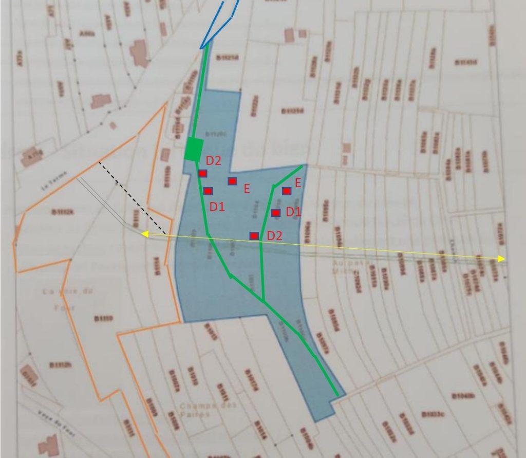 Plan de situation des containers et des routes par rapport au Pasai Michî